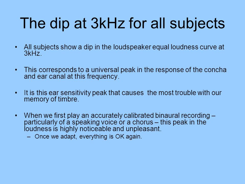 The dip at 3kHz for all subjects