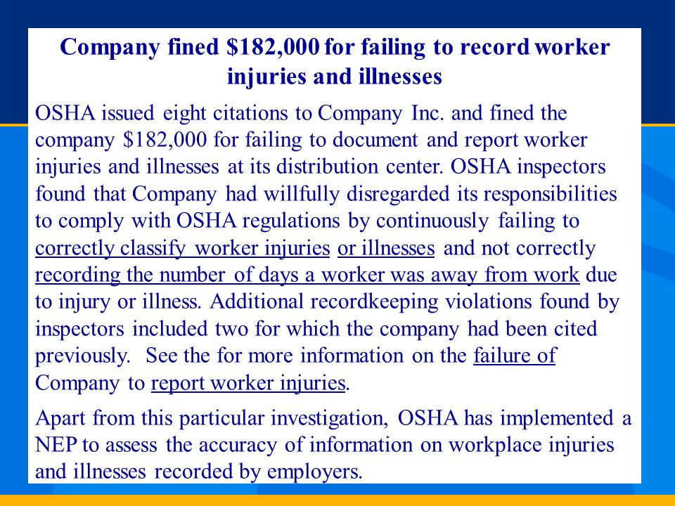 Company fined $182,000 for failing to record worker injuries and illnesses