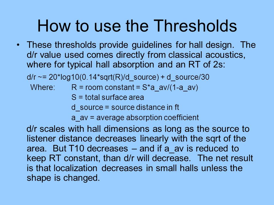 How to use the Thresholds