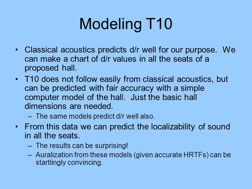 Modeling T10 Classical acoustics predicts d/r well for our purpose. We can make a chart of d/r values in all the seats of a proposed hall.