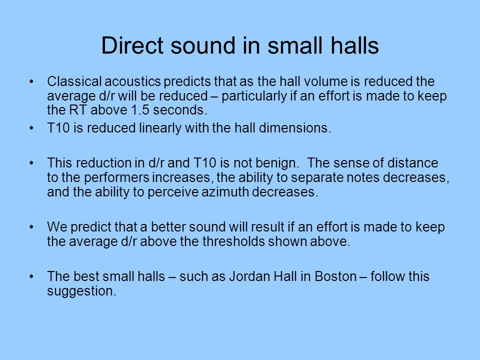 Direct sound in small halls