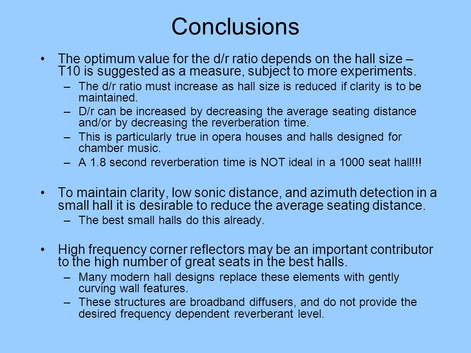 Conclusions The optimum value for the d/r ratio depends on the hall size – T10 is suggested as a measure, subject to more experiments.