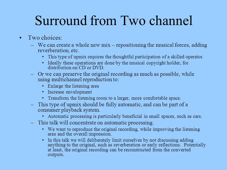 Surround from Two channel