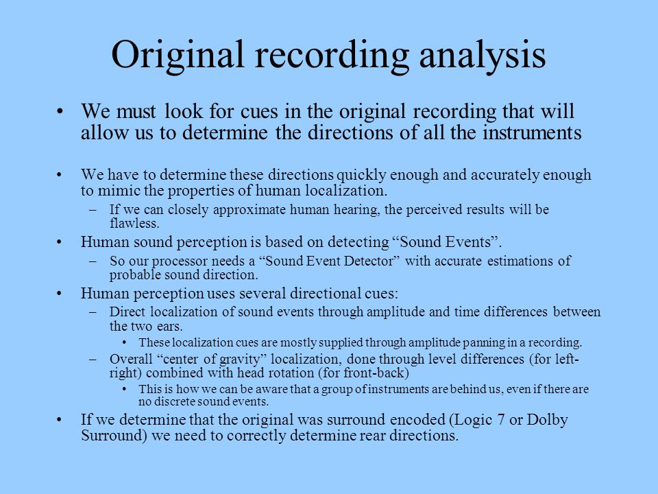 Original recording analysis