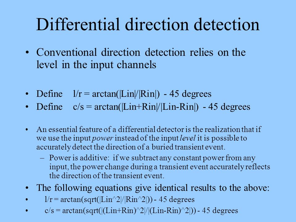 Differential direction detection