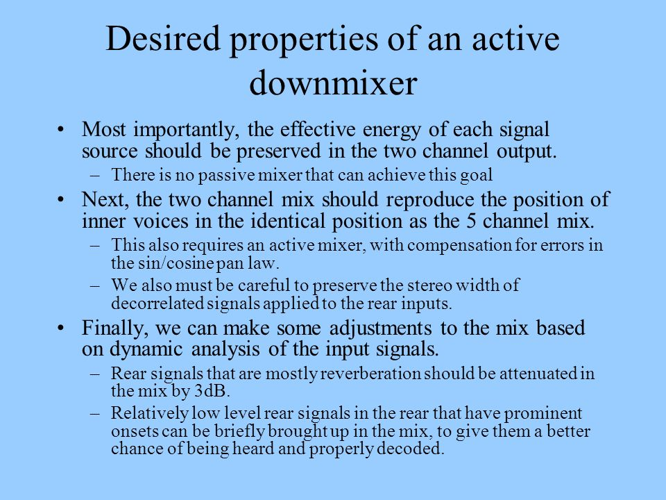 Desired properties of an active downmixer