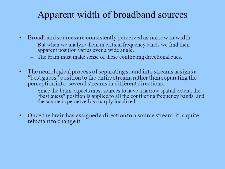 Apparent width of broadband sources