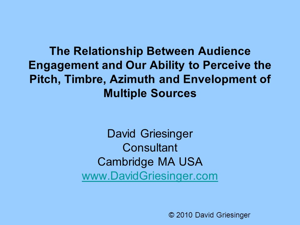 The Relationship Between Audience Engagement and Our Ability to Perceive the Pitch, Timbre, Azimuth and Envelopment of Multiple Sources