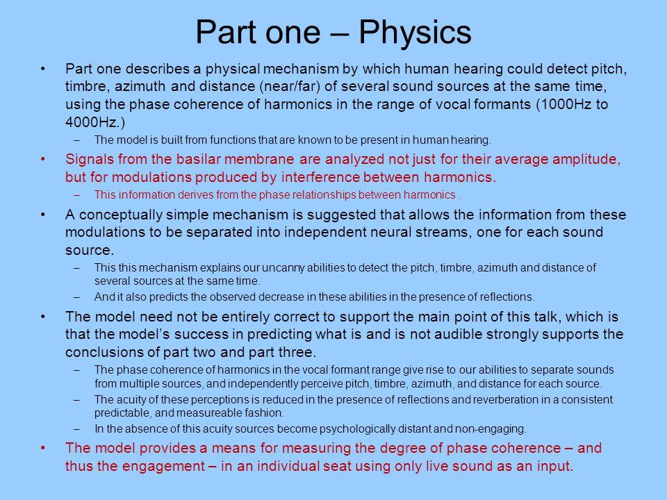 Part one – Physics