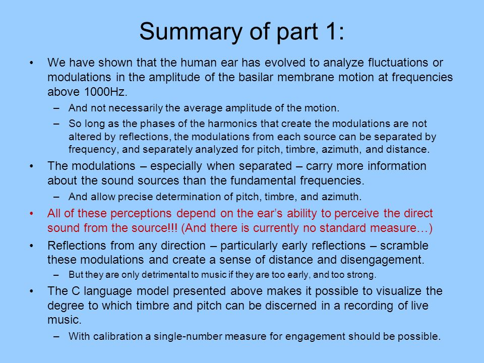 Summary of part 1: