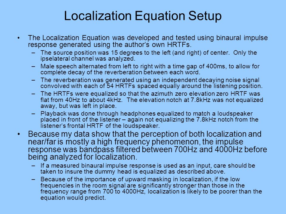 Localization Equation Setup