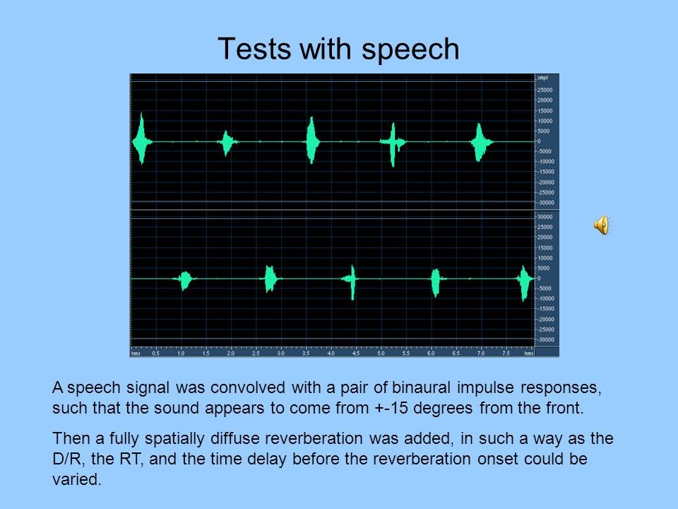 Tests with speech