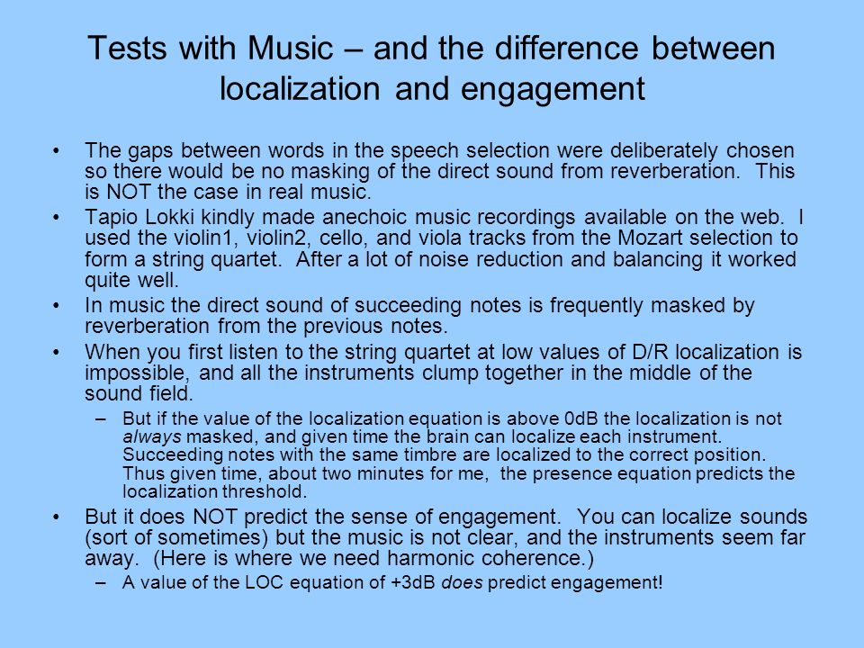 Tests with Music – and the difference between localization and engagement