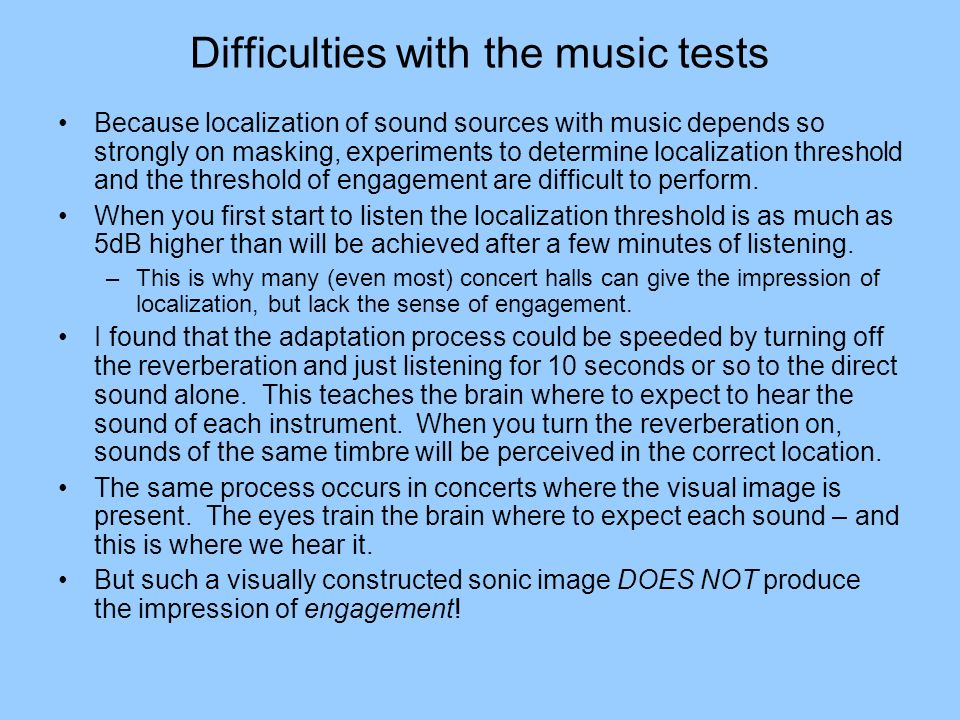 Difficulties with the music tests