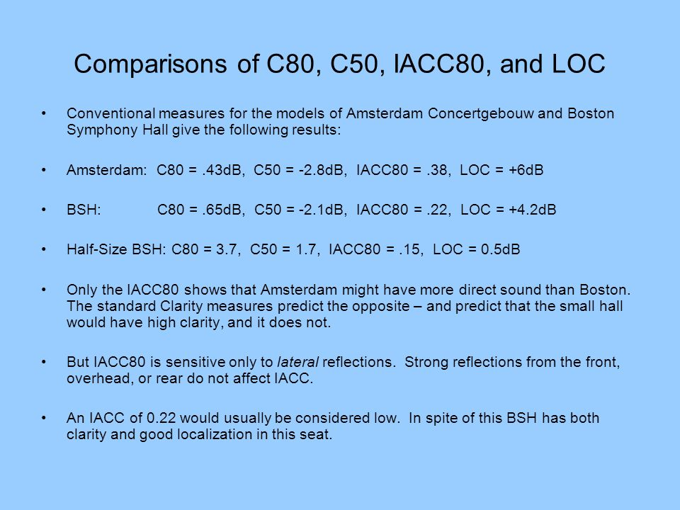 Comparisons of C80, C50, IACC80, and LOC