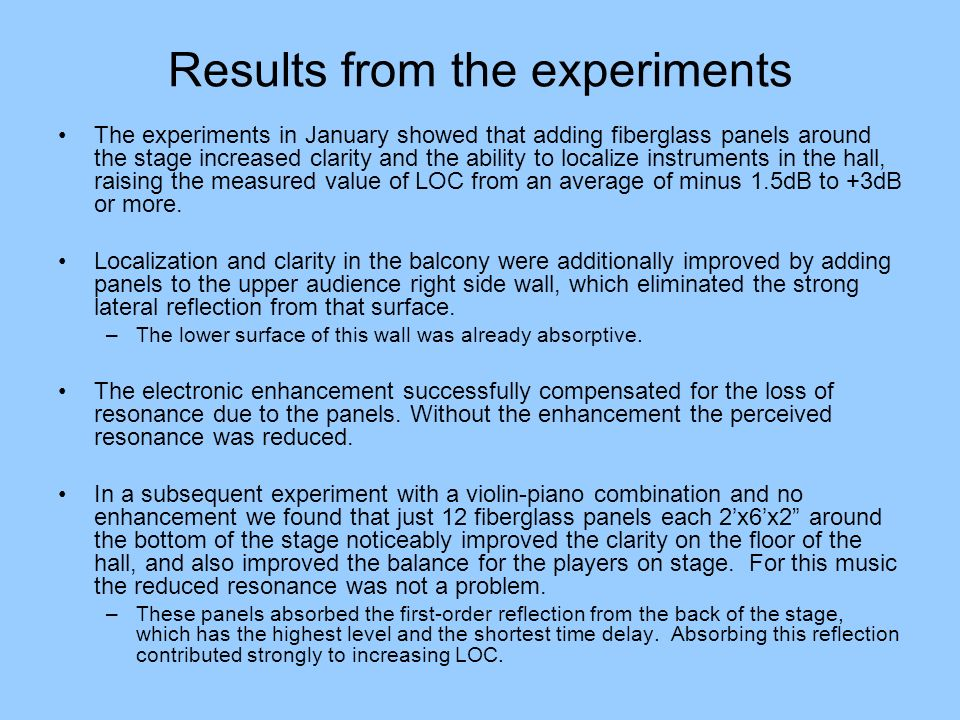 Results from the experiments