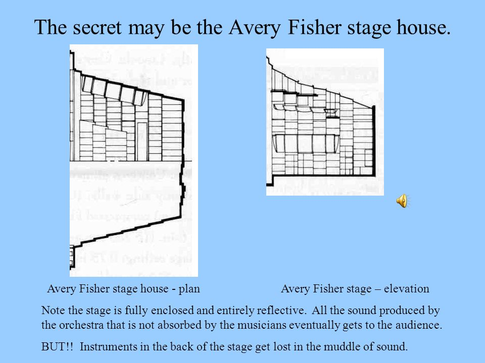 The secret may be the Avery Fisher stage house.