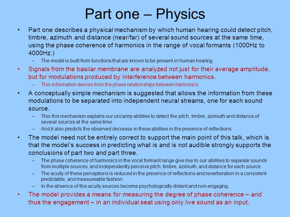 Part one – Physics