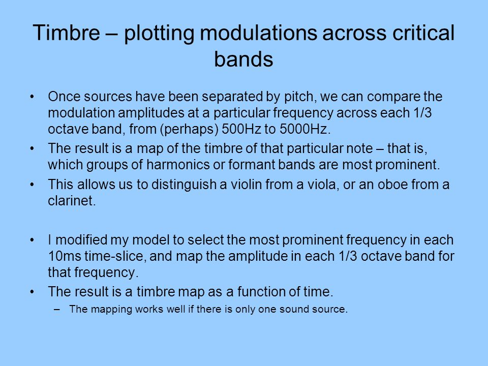 Timbre – plotting modulations across critical bands