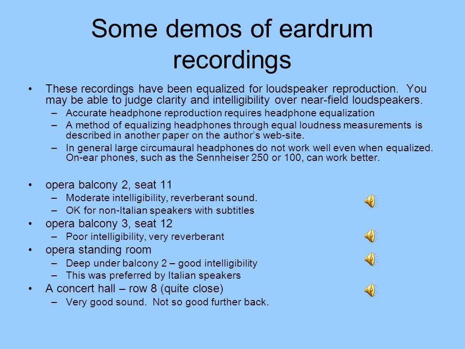 Some demos of eardrum recordings
