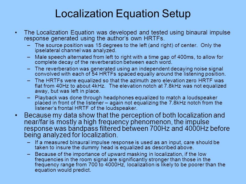 Localization Equation Setup