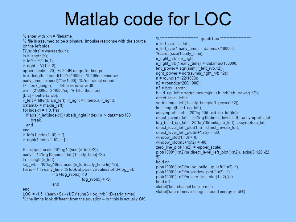 Matlab code for LOC % enter with xin = filename