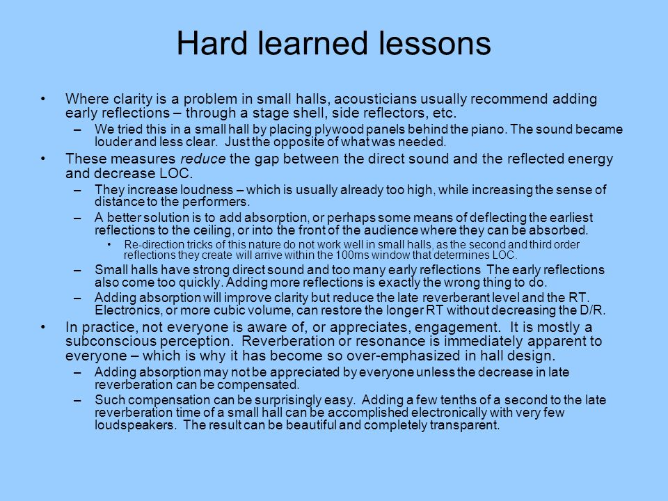 Hard learned lessons