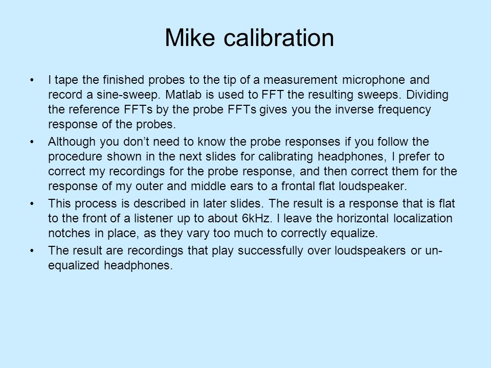 Mike calibration