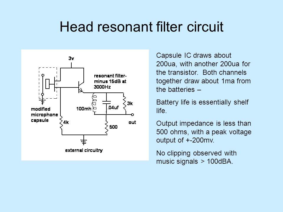 Head resonant filter circuit