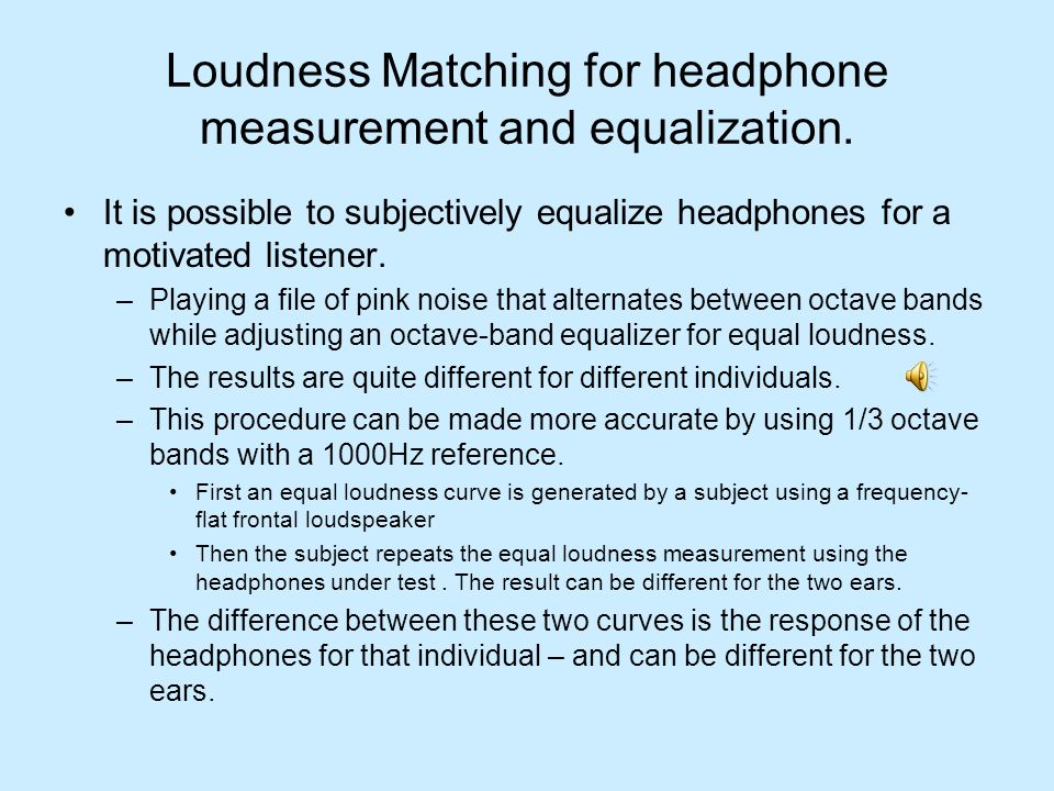Loudness Matching for headphone measurement and equalization.