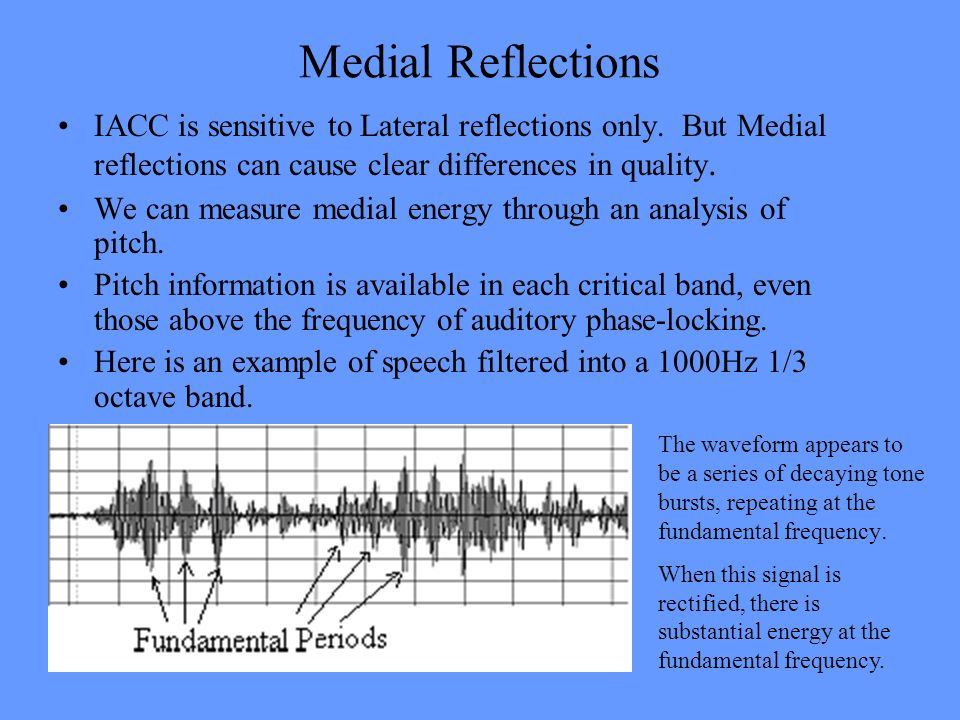 Medial Reflections IACC is sensitive to Lateral reflections only. But Medial reflections can cause clear differences in quality.