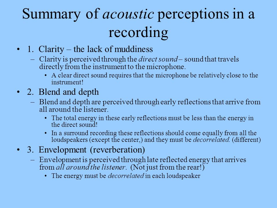 Summary of acoustic perceptions in a recording