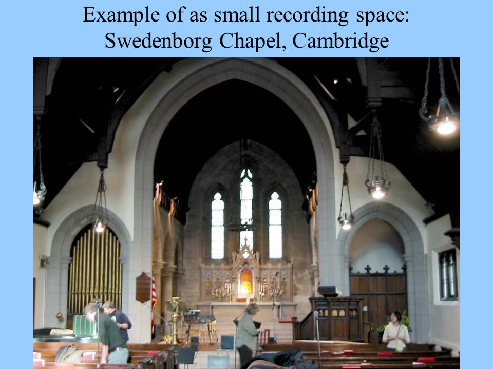 Example of as small recording space: Swedenborg Chapel, Cambridge
