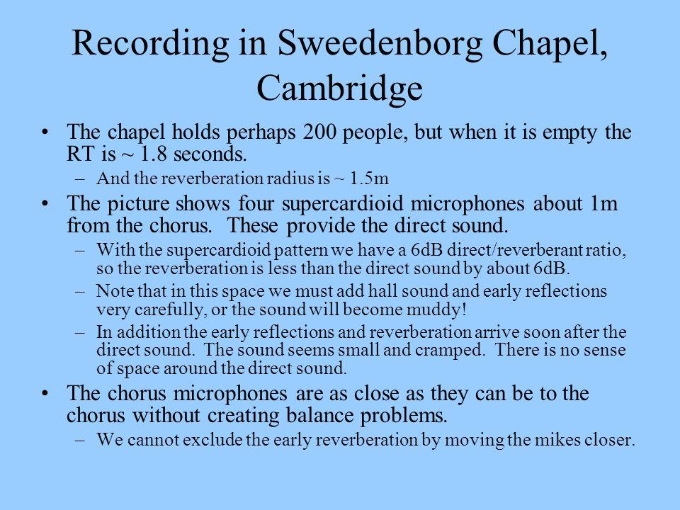 Recording in Sweedenborg Chapel, Cambridge