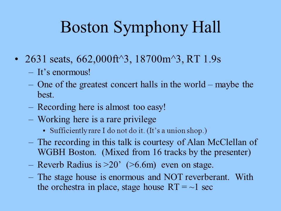 Boston Symphony Hall 2631 seats, 662,000ft^3, 18700m^3, RT 1.9s