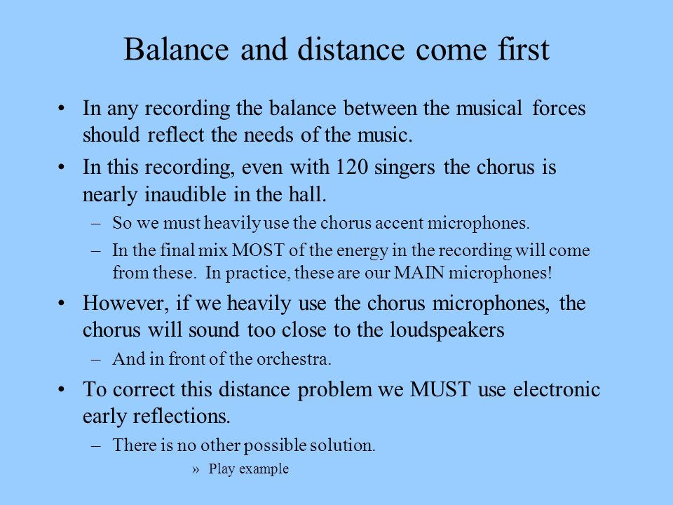 Balance and distance come first