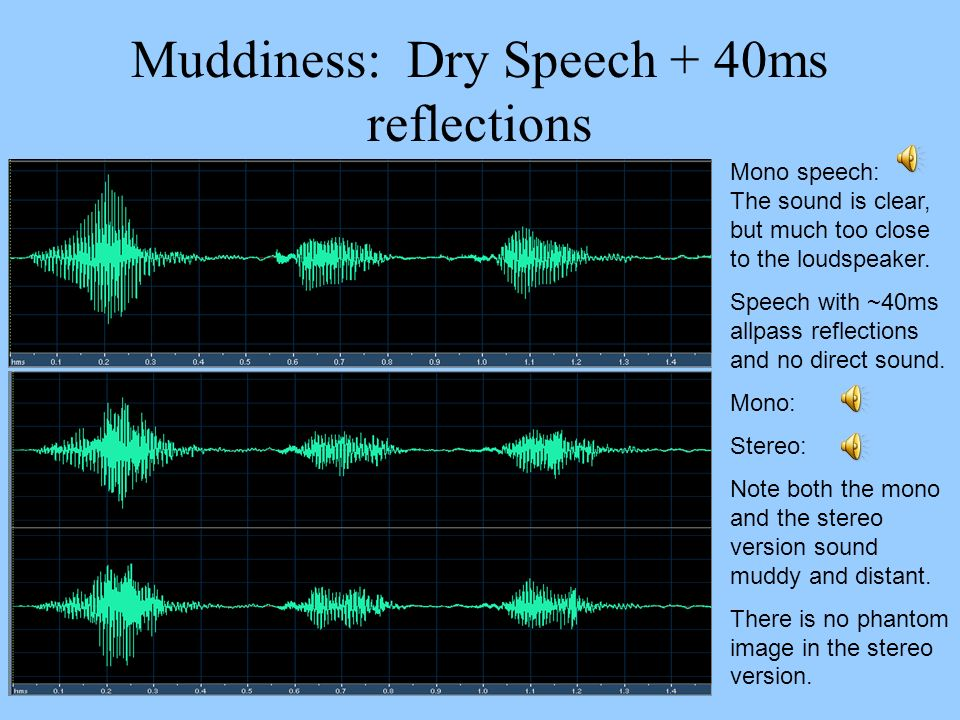 Muddiness: Dry Speech + 40ms reflections