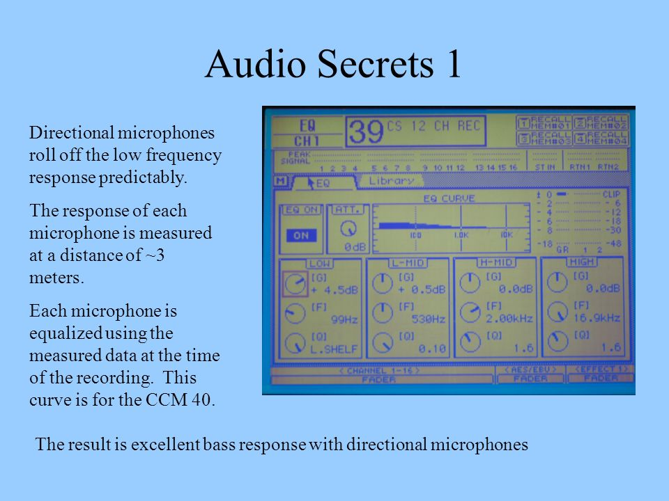 Audio Secrets 1 Directional microphones roll off the low frequency response predictably.