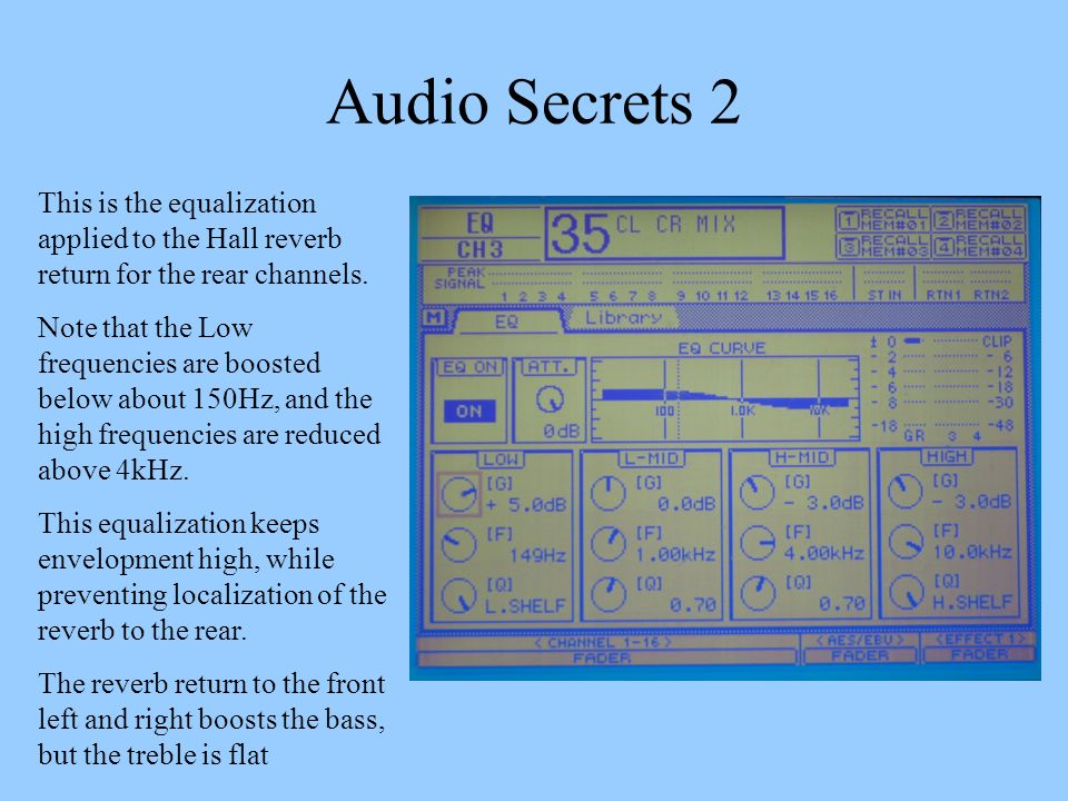 Audio Secrets 2 This is the equalization applied to the Hall reverb return for the rear channels.
