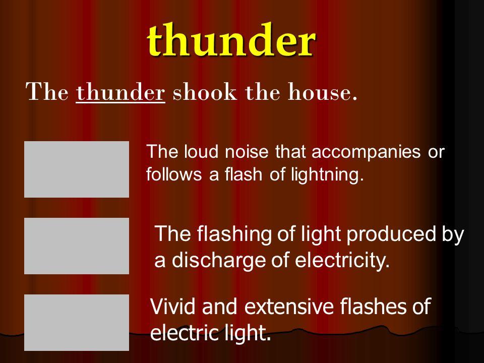 thunder The thunder shook the house.
