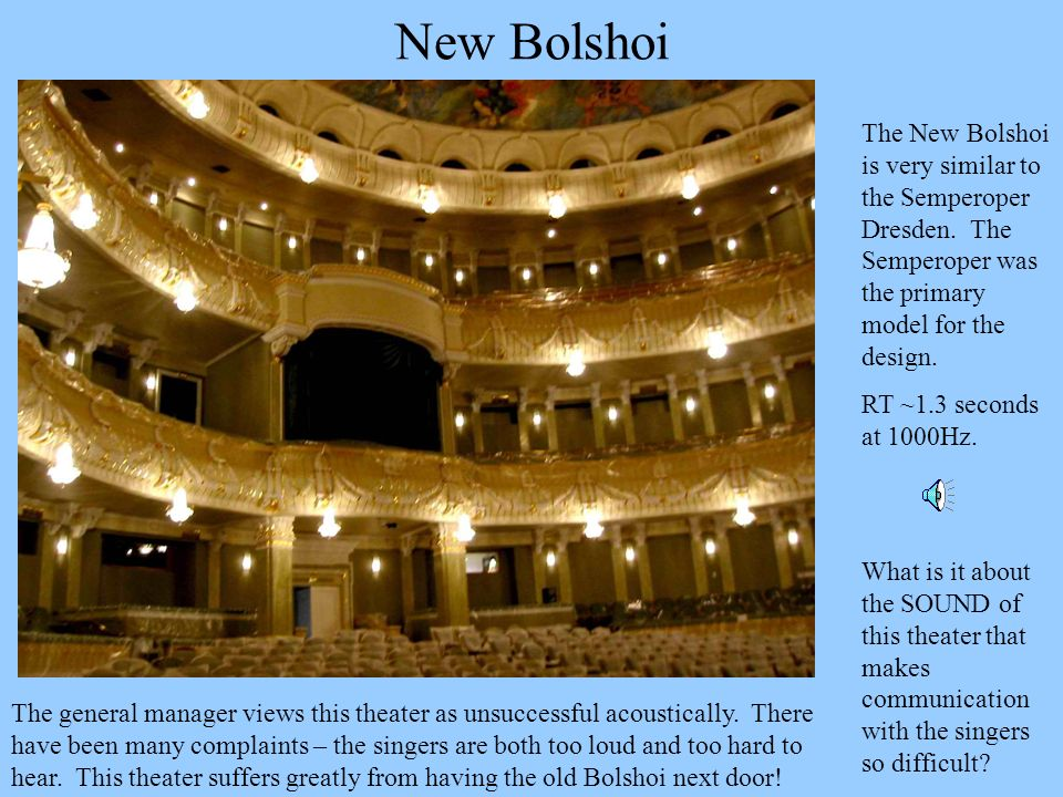 New Bolshoi The New Bolshoi is very similar to the Semperoper Dresden. The Semperoper was the primary model for the design.