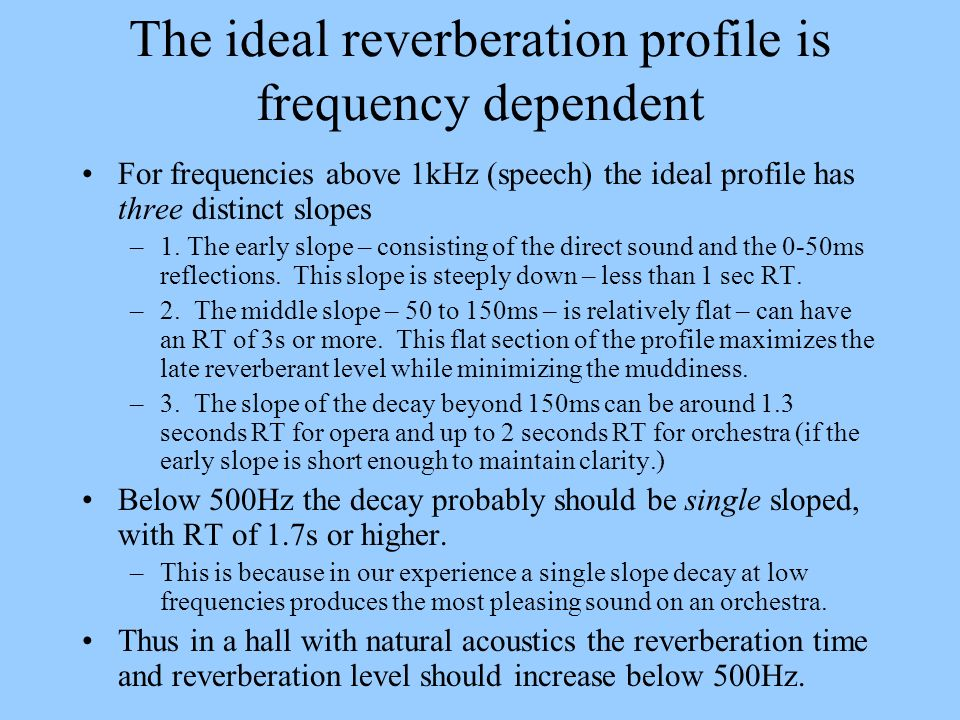 The ideal reverberation profile is frequency dependent