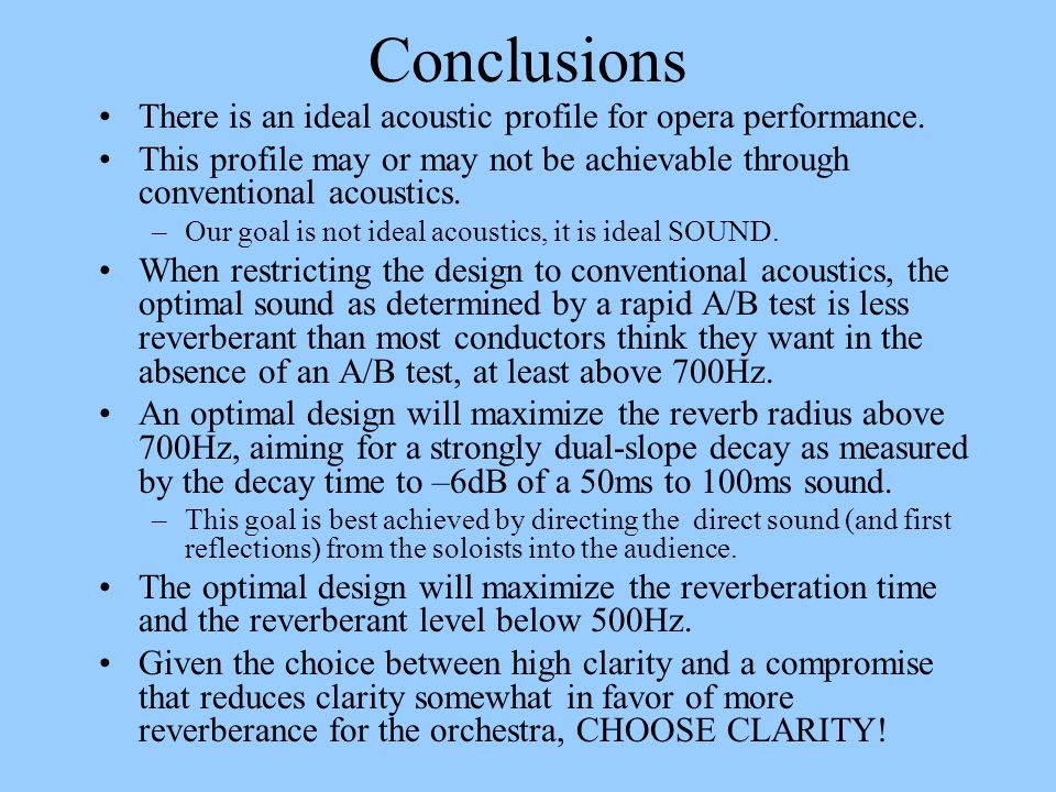 Conclusions There is an ideal acoustic profile for opera performance.