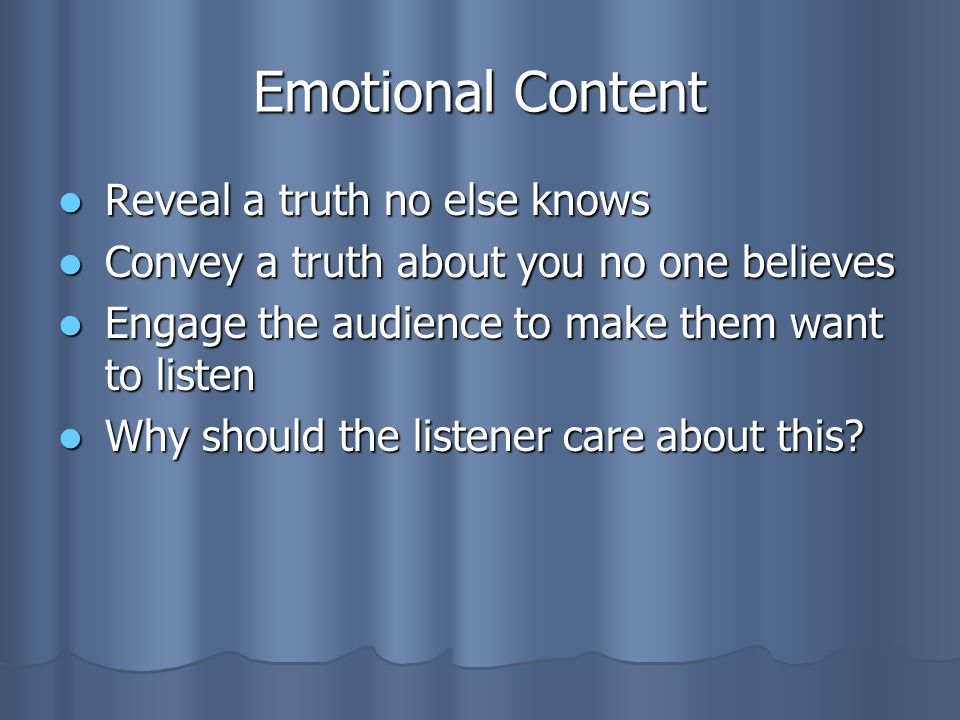 Emotional Content Reveal a truth no else knows