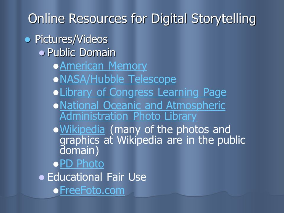 Online Resources for Digital Storytelling