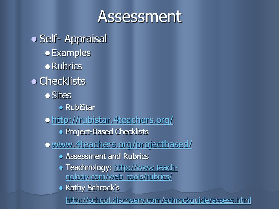 Assessment Self- Appraisal Checklists Examples Rubrics Sites