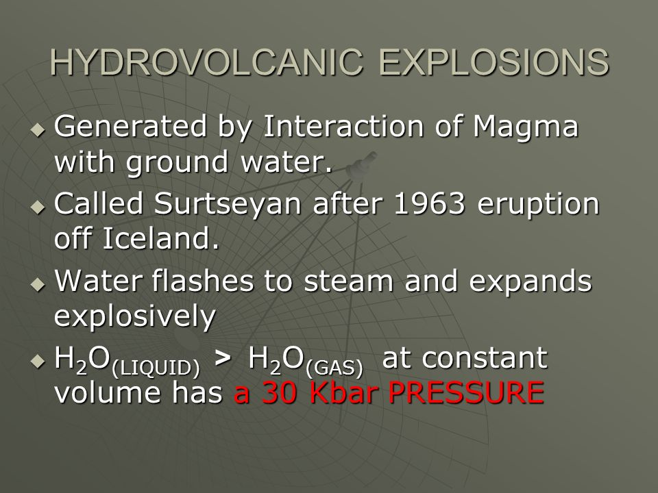 HYDROVOLCANIC EXPLOSIONS