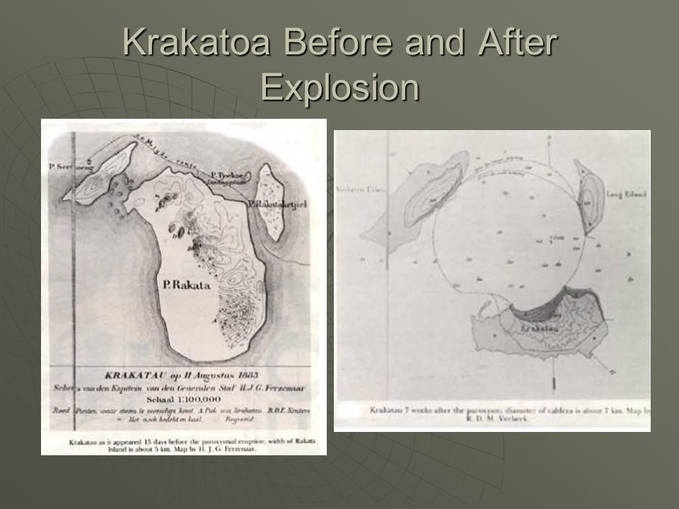 Krakatoa Before and After Explosion