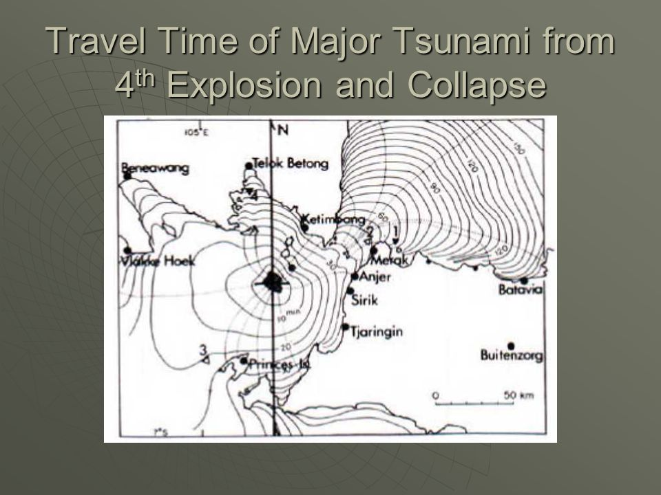 Travel Time of Major Tsunami from 4th Explosion and Collapse