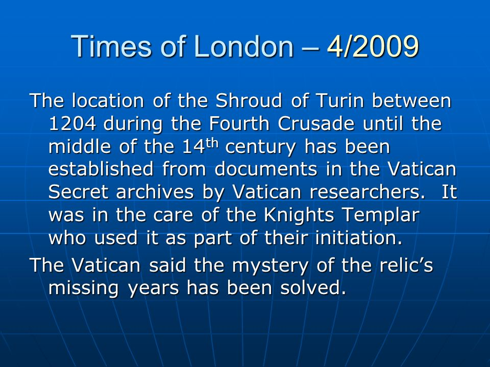 Times of London – 4/2009